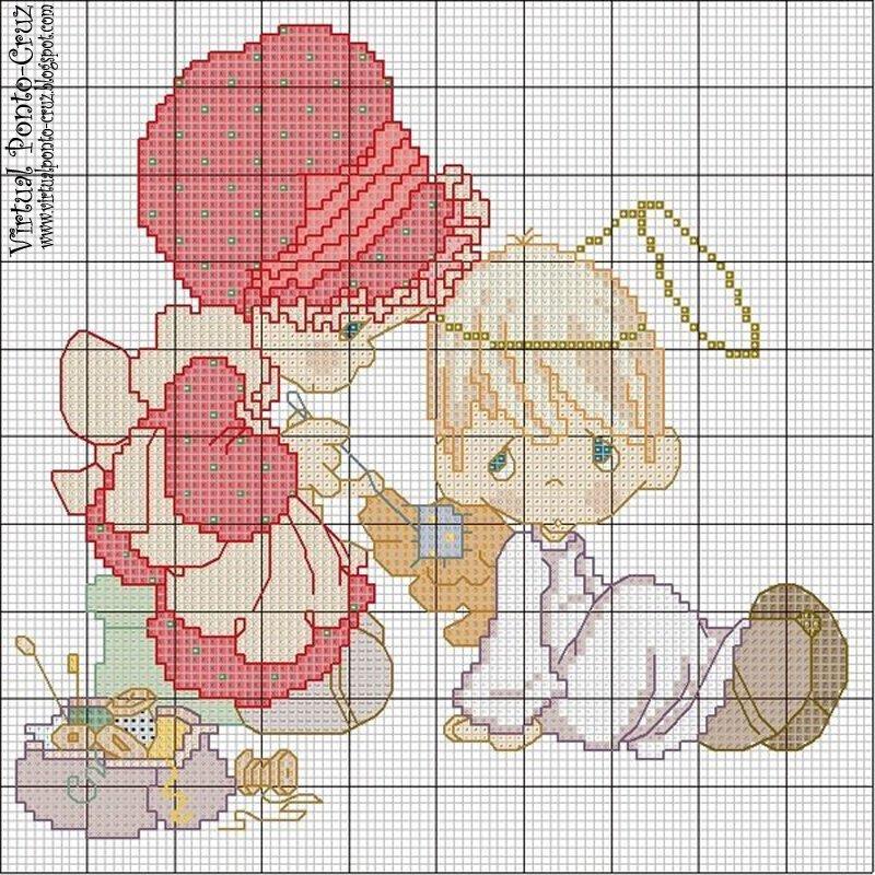 para ponto cruz anjos clique na imagem para obter o esquema e imprimir