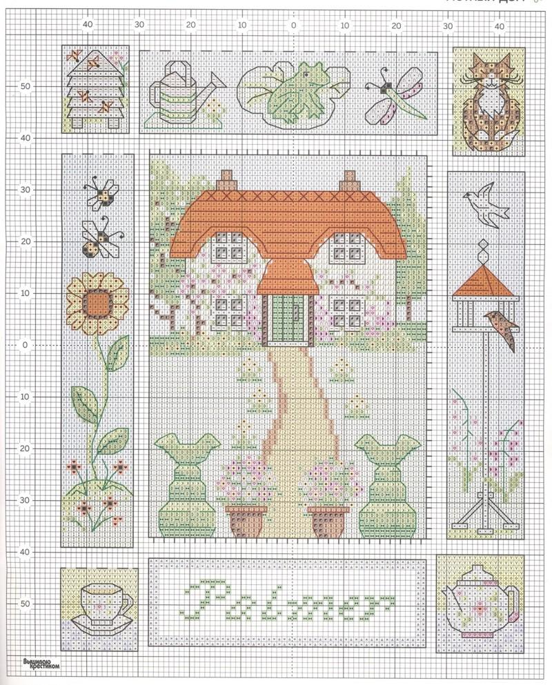 Схема для вышивки крестом с домиком 961
