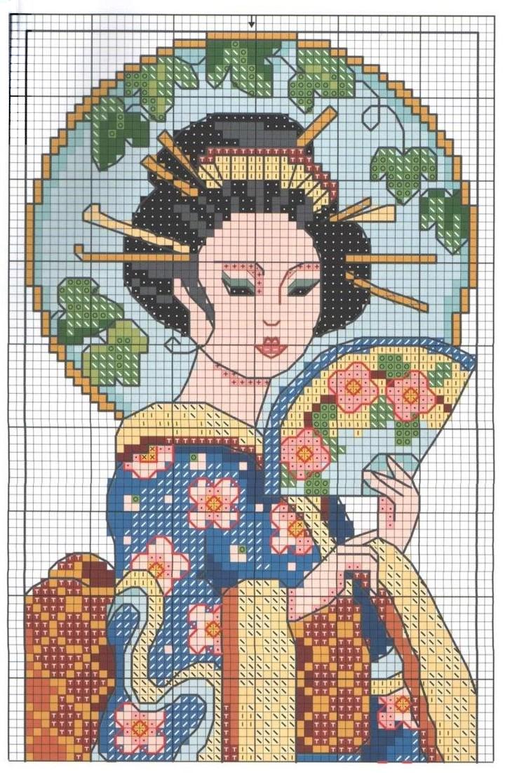 Схема вышивки крестом японский